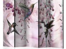 Paraván - Flying Hummingbirds (Pink) II [Room Dividers]